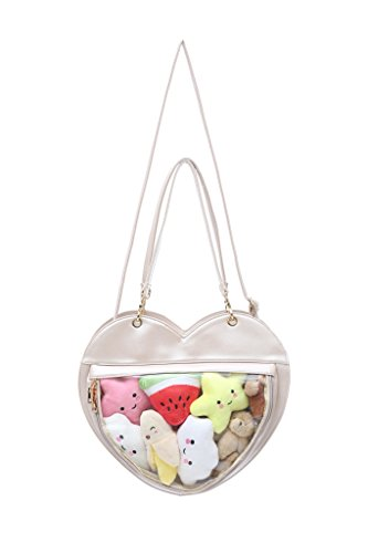 Clear Candy Leather Handbag Kawaii Purse Transparent Backpacks Love Heart Shape Crossbody Bags Lolita Ita Bag