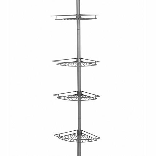 Zenna Home 2114NN, Tension Corner Pole Caddy, Satin Nickel