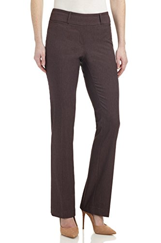 (Rekucci Women's Ease in to Comfort Fit Barely Bootcut Stretch Pants (10,Brown)