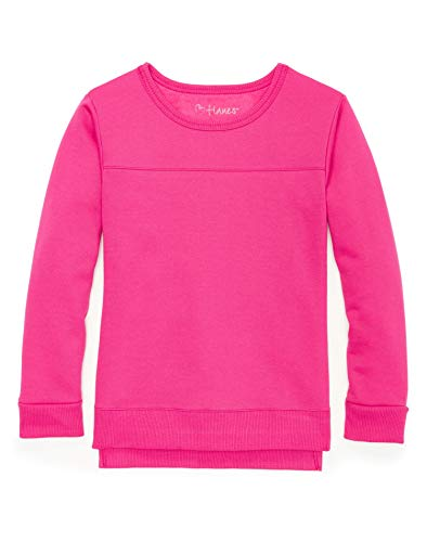 Hanes Girls High-Low Sweatshirt (K375) -Fuchsia Bu ()