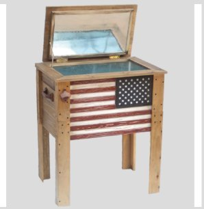 By Premium Cooler Patio Cooler,Outdoor,Ice Chest,57 Qt.American Flag