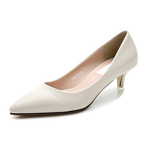 Matt Shoes JESSI Pumps Kitten Women's Classic White Dress MAIERNISI Toe Pointed Heel AangBBUq