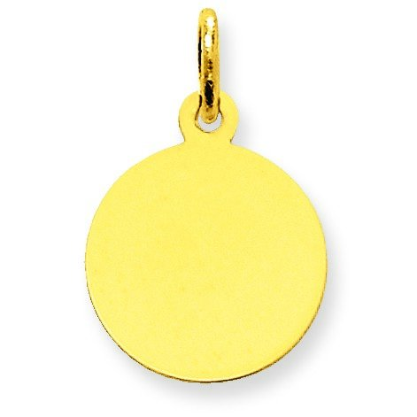- 14k Yellow Gold Solid Polished Engravable Plain .011 Gauge Circular Engraveable Disc Charm