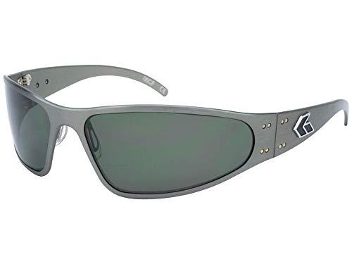 Gatorz Eyewear, Wraptor Model, Aluminum Frame Sunglasses - Gun Metal/Emerald Polarized Lens