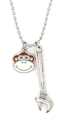 "21.6"" 2.4mm Stainless Steel Ball Chain Grease Monkey Necklace with Monkey and Wrench BC 33X"