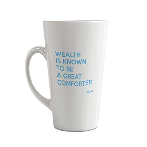 - Style In Print Light Blue Wealth is Well Know to Be A Great Comforter Ceramic Latte Mug - 17 OZ