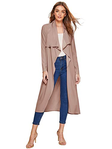 Verdusa Women's Casual Long Sleeve Lapel Outwear Duster Coat Cardigan Blush XS