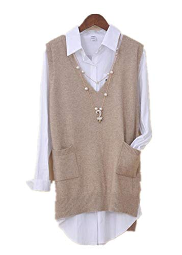 Women's V Neck Wool Pullover Knitted Sweater Vest Casual Sleeveless Pullover Tops with Pockets