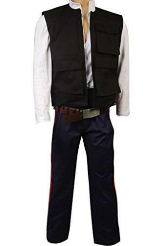mingL Halloween Cosplay A New Hope Han Solo Costume Vest Shirt Pants Full Sets (Han Solo Costume Shirt)
