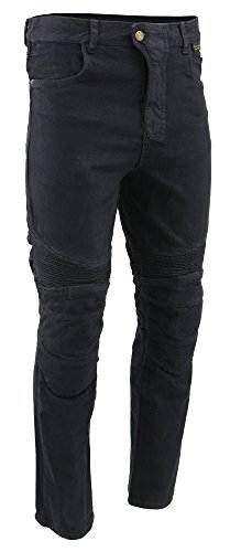 M-BOSS MOTORCYCLE APPAREL-BOS15573-BLACK-Mens denim motorcycle pants with CE armor and - Armor Pants