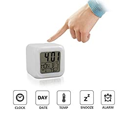 ixaer Digital Alarm Clocks-Digital Alarm Thermometer Night Glowing Cube 7 Colors Clock LED Change LCD