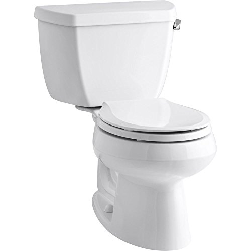 Kohler K-3577-RA-0 Wellworth Classic 1.28gpf Round-Front Toilet with Class Five Flushing Technology and Right-Hand Trip Lever, (Trip Lever White Ceramic)