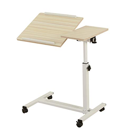 Rolling Laptop Table Overbed Desk Rolling Laptop Stand Adjustable Overbed Bedside Table Tiltable Bedside Table Rolling Laptop Desk with Wheels (WhiteMaple)