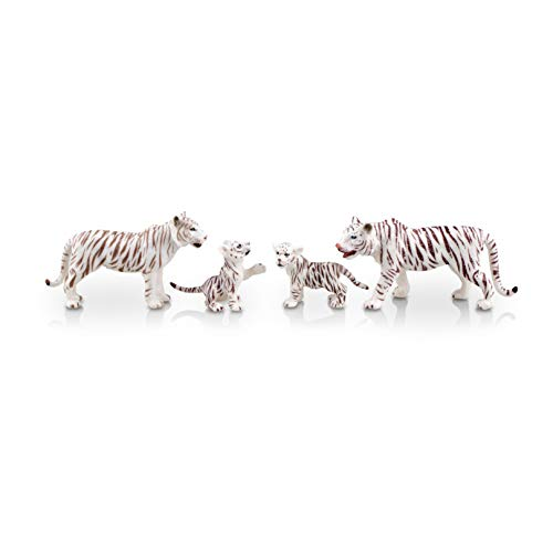 TOYMANY 4PCS Realistic White Tigers Figurines with Tiger Cubs, 2-6