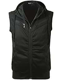 Allegra K Men Kangaroo Pocket Zip Up Drawstring Hooded Vest