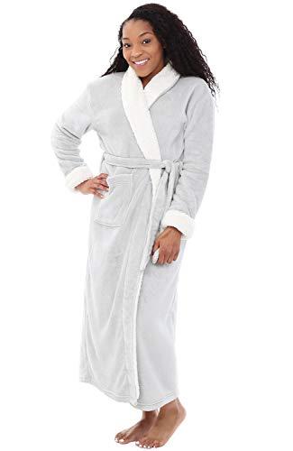 Alexander Del Rossa Womens Fleece Robe, Long Bathrobe, 3X 4X Light Grey with Shepra Contrast (A0274LGR4X)