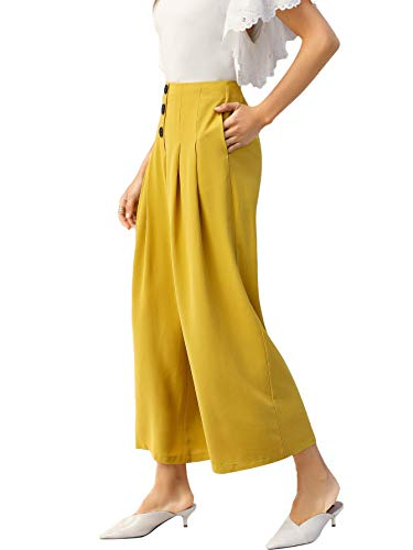 SOLY HUX Women High Waist Zip Back Buttoned Front Wide Leg Pants Ginger L