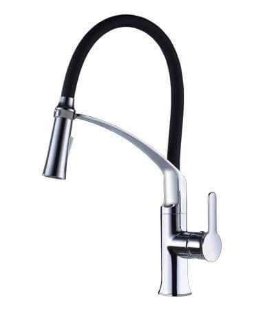 Kitchen Faucet With Sprayer SURNORME High Arch Kitchen Sink Faucet Swivel Head Single Handle Pull Down Sprayer Kitchen Mixer Tap (Chrome) ()