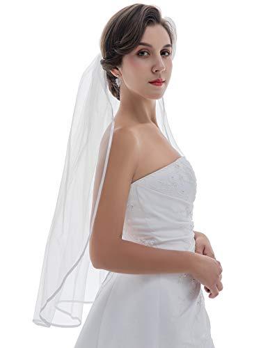 """1T 1 Tier 1/4"""" Ribbon Edge Wedding Veil - Ivory Fingertip Length 36"""" V522"""