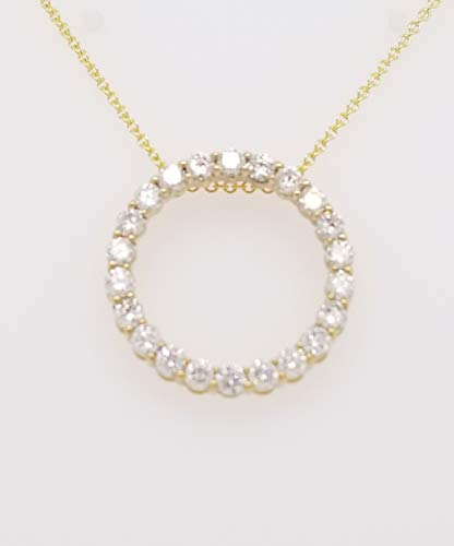 Round Diamond Circle of Life Pendant Necklace, 14K Gold, Adjustable Chain (1ct, G-H Color, SI2-I1 Clarity) (Yellow-Gold) ()