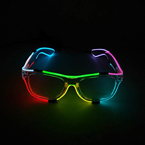 LED Glasses Adjustable Neon Light Up Glasses, Party Favors LED Sunglasses Glowing Luminous Eyewear (Clear Frame + Clear Lenses)