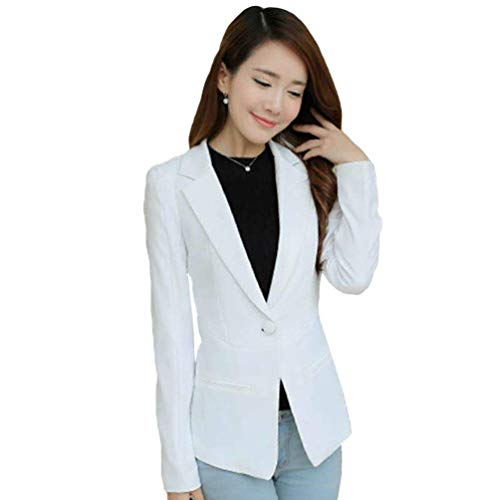 Button Fit Tailleur Primaverile Elegante Comodo Casual Tasche Blazer Slim Business Giacca Giovane Sudore Manica Puro Giacche Cappotto Colore Donna Con Da Bianca Lunga Moda Autunno 4xqHq1w