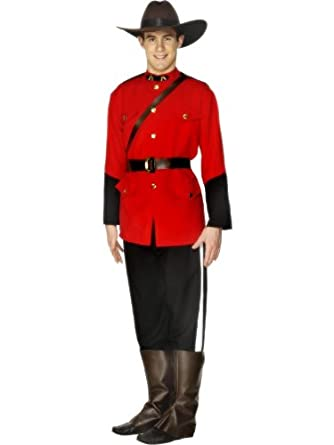 New men mountie fancy dress red black with jac size l for Made in canada dress shirts