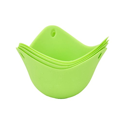 AOWA 4Pcs Silicone Cooking Perfect Poached Eggs Molds High Temperature Resistance Green