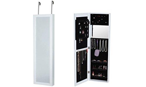 BTEXPERT Cheval espejo para encima de la puerta Soporte de pared colgar joyas clóset, color blanco
