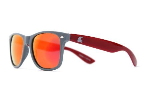 NCAA Washington State Cougars WSU-4 Grey Front Temple, Crimson Lenses Sunglasses, One Size, - Wsu Sunglasses