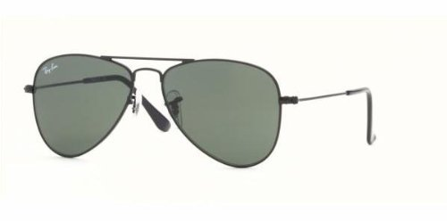 Ray Ban RJ 9506S Juniors' Aviator Sunglasses Matte Black w/ Green Lens - Ban Ray Sunglasses Wrap Around