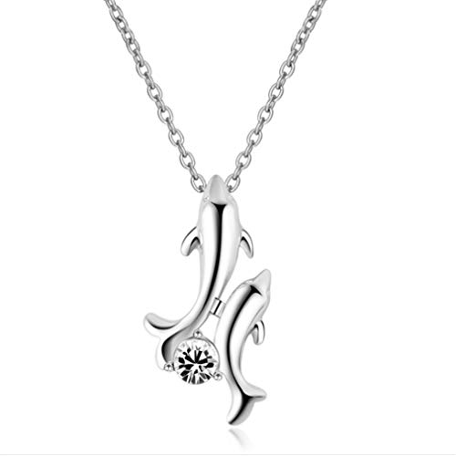 (TraveT Ladies Double Dolphin Pendant Necklace Round Cubic Zircon Necklace Chain for Women,White)