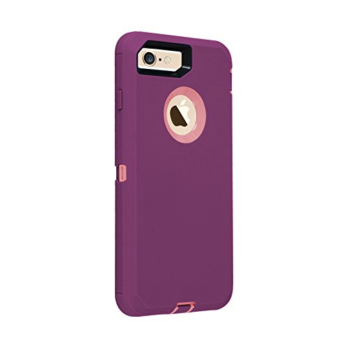 Co-Goldguard Case for iPhone 7/8, [Heavy Duty] 3 in 1 Built-in Screen Protector Cover Dust-Proof Shockproof Drop-Proof Scratch-Resistant Shell for Apple iPhone 7 4.7 inch,Purple&Pink