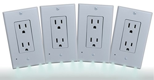 Telephone Tap Wall Plate (Wall Plate Night Light - 3 LED Outlet Cover - ( 4 Pack ) - Safety Light for Bathroom, Kitchen, Bedroom Decor DIY Home Improvement - Simple to Install. DECOR style cover plate, Sold by Guco Products.)