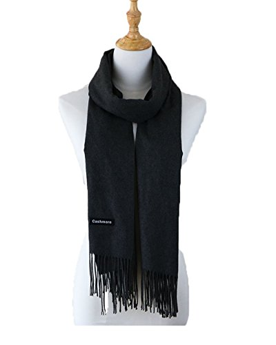 Womens Large Colorful Cashmere Wool Scarf Pashmina Shawls Wool Wraps Winter Collection(Black) (Set Sc03)