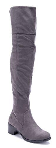 Schuhtempel24 Damen Schuhe Overknee Stiefel Stiefeletten Boots Blockabsatz 5 cm Grau
