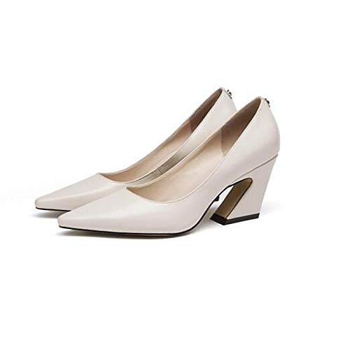 Blanc ZHZNVX Chaussures Femme Nappa Cuir Printemps Confort Talons Hétérougeypique Talon Blanc Noir 38 EU