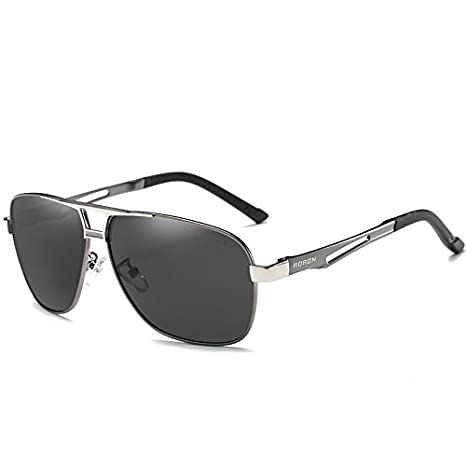 d012d1ad60 Amazon.com   Gray Aoron-Hd-Polarized-Sunglasses-Men S-Driving-Outdoor-Sports -Eyewear-Glasses-Uv400   Garden   Outdoor