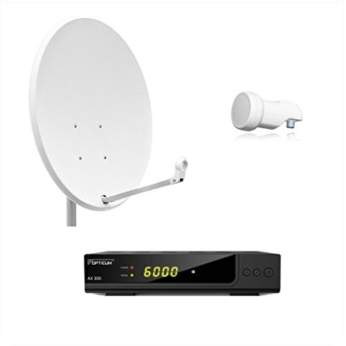 Opticum Digitale 1 Teilnehmer AX 300 HDTV Satelliten-Komplettanlage (Opticum Single LNB, Opticum X, 80 cm Antenne) lichtgrau