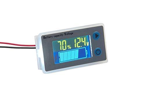 Battery Meter Capacity Voltage Temperature Tester Gauge 12V 24V 36V 48V LCD Display Statue Indicator Monitor Electric Quantity Detector Reader Panel ()