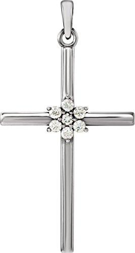 Large 7-Stone Diamond Cluster Christian Cross 14k White Gold Pendant (.10 Ctw) 30.40X16.26MM