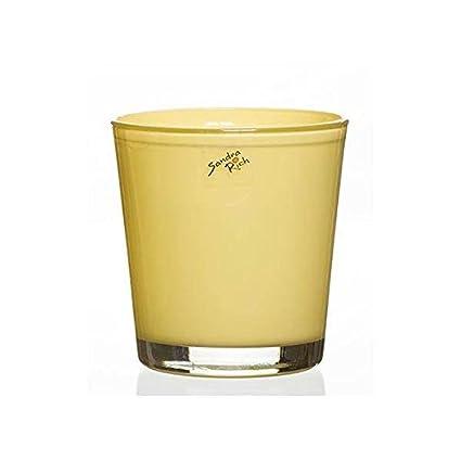 Glas Orchideentopf Blumentopf ORCHID vanilla gelb H 13,5cm D.12,5cm Sandra Rich