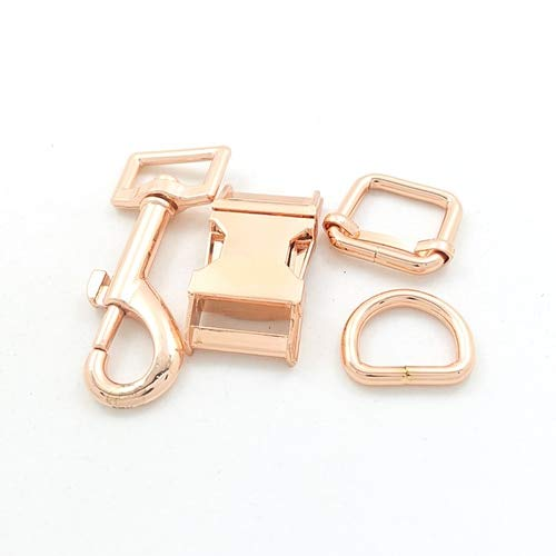 Buckes - 20mm Engraved Buckle, We Provide Laser Engraving Service Customize Logo (Metal Buckle+Adjust Buckle+D Ring+Metal Dog Clasp/Set) - (Size: 20mm, Color: Rose Gold)