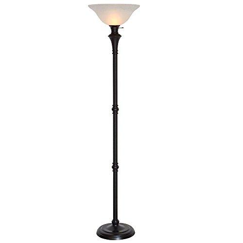 Hampton Bay 72.75 in. Bronze Floor Lamp with White Alabaster Shade - Title 20 (Hampton Bay Bell Shade)