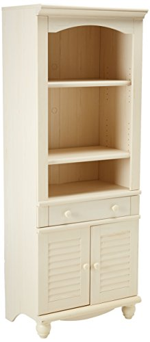 "Sauder 158082 Harbor View Library with Doors, L: 27.21"" x W: 17.48"" x H: 72.24"", Antiqued White finish"