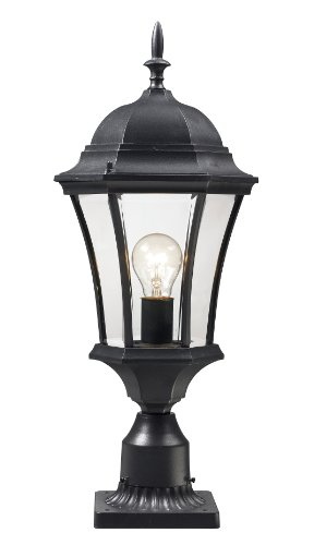 Z-Lite 522PHM-BK-PM Wakefield Outdoor Post Light, Aluminum Frame, Black Finish and Clear Beveled Shade of Glass Material