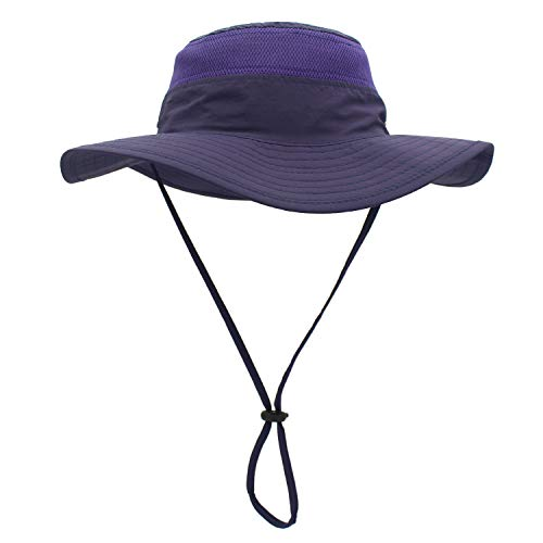 QingFang Wide Brim Sun Hat Mesh Bucket Hat Lightweight Bonnie Hat Perfect for Outdoor Activities (Purple) - Bucket Brim Large