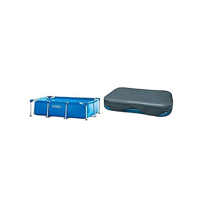 Piscina rectangular desmontable tubular Intex Small Frame, con estructura metálica, medidas: 260 x 160 x 65 cm, capacidad 2.282 litros, para 4 personas (+ 6 años) Estructura tubular con piezas independientes de aceros con acabado expoxy antióxido, de fácil montaje, lista para su uso en aproximadamente 30 minutos Lona tricapa con tecnología Super-Tough para mayor resistencia y durabilidad, cuenta con tapón de vaciado conectable a manguera para facilitar el vaciado
