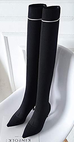 Aiguille Noir Aisun Bottes Souple Femme Tige Cuissardes Talon Haute Elastique xwwt4z8q