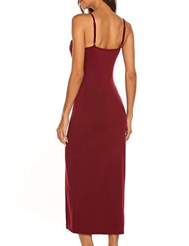 Wine Summer Bodycon Spaghetti Down Maxi Button Women's Lalala Dress Party Straps Red gqOCOv